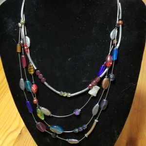 "Jewelry - 16"" 4 strand multi-colored necklace"